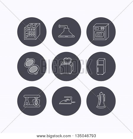Dishwasher, refrigerator fridge and blender icons. Kitchen hood, mixer and toaster linear signs. Oven, teapot and waffle-iron icons. Flat icons in circle buttons on white background. Vector
