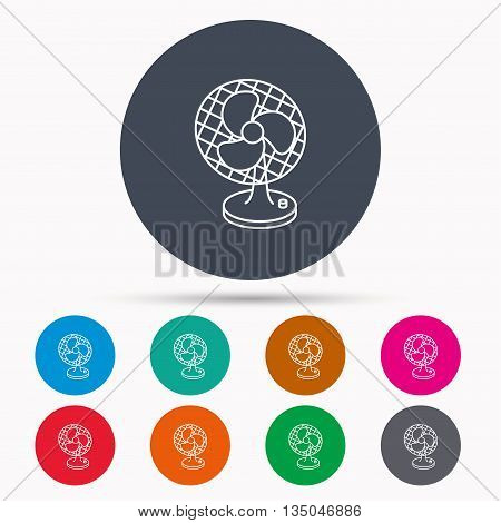 Ventilator icon. Fan or propeller sign. Icons in colour circle buttons. Vector