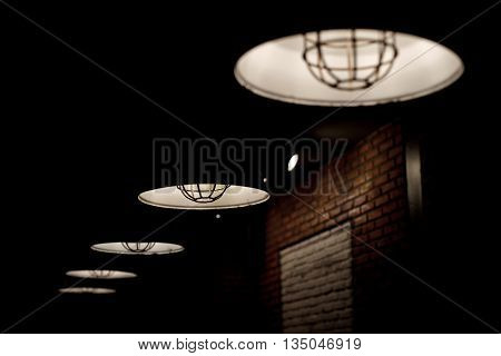 Old Hanging Lamp With Light Bulbs