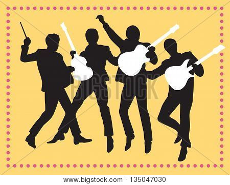 Fab Four Beatles Silhouette Vector Illustration. Vector illustration of the Fab Four jumping in the air holding musical instruments.