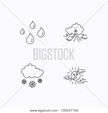 Weather, snow and rain icons. Water drops and mist linear signs. Flat linear icons on white background. Vector