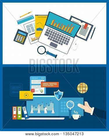Flat design illustration concepts for business analysis, financial strategy and report, consulting, team work, project management. Concept to building successful busines