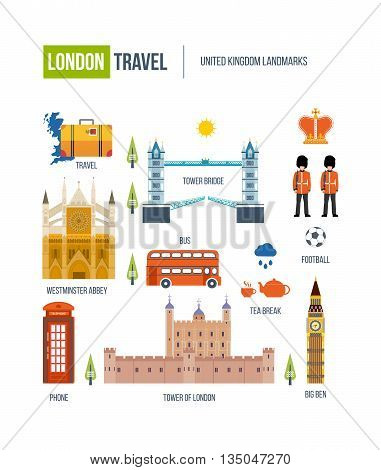 London, United Kingdom flat icons design travel concept. Historical and modern building. United kingdom landmarks.