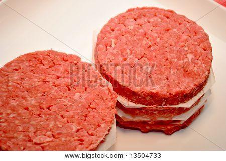Stack of Raw Hamburgers
