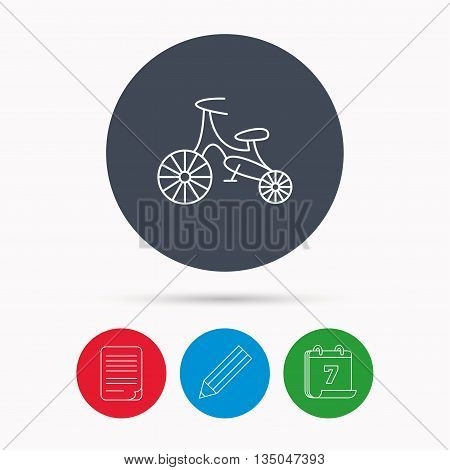 Bike icon. Kids run-bike sign. First bike transport symbol. Calendar, pencil or edit and document file signs. Vector