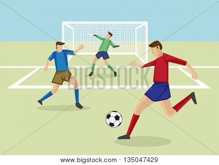 Vector cartoon illustration of striker kicking soccer ball in penalty area with defender and goalkeeper in front of goal posts.
