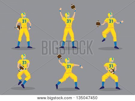 Set of six vector illustrations of American football player wearing yellow uniform and protective sport helmet holding a football isolated on grey background.