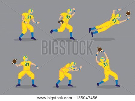 Set of six vector illustration of cartoon American football player in yellow uniform isolated on grey background.