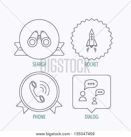Phone call, chat speech bubble and binoculars icons. Rocket linear sign. Award medal, star label and speech bubble designs. Vector