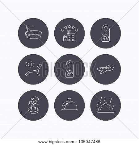 Hotel, swimming pool and beach deck chair icons. Reception bell, restaurant food and airplane linear signs. Do not disturb and clean room flat line icons. Flat icons in circle buttons on white background. Vector