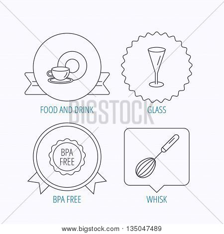 Food and drink, glass and whisk icons. BPA free linear sign. Award medal, star label and speech bubble designs. Vector