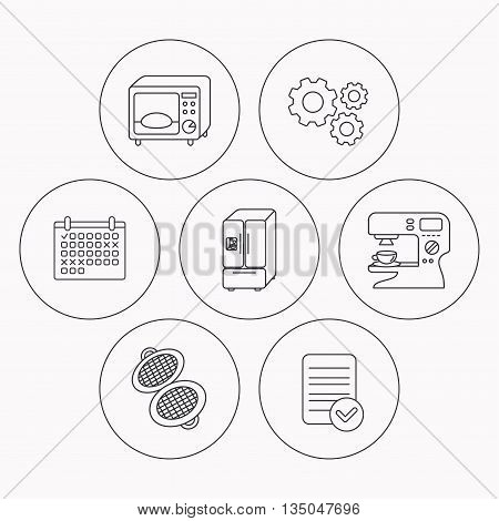 Microwave oven, waffle-iron and American style fridge icons. Coffee maker linear sign. Check file, calendar and cogwheel icons. Vector