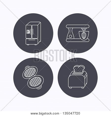 American style refrigerator, mixer and toaster icons. Waffle-iron linear sign. Flat icons in circle buttons on white background. Vector