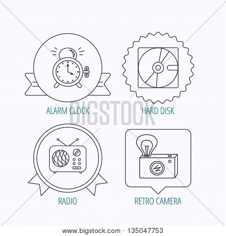 Radio, retro camera and alarm clock icons. Hard disk linear sign. Award medal, star label and speech bubble designs. Vector