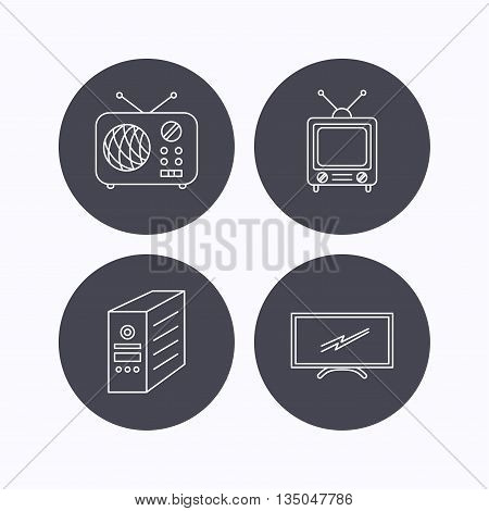 Retro TV, radio and PC case icons. Computer linear sign. Flat icons in circle buttons on white background. Vector