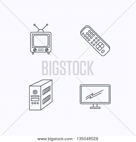 Retro TV, PC case and monitor icons. TV remote linear sign. Flat linear icons on white background. Vector