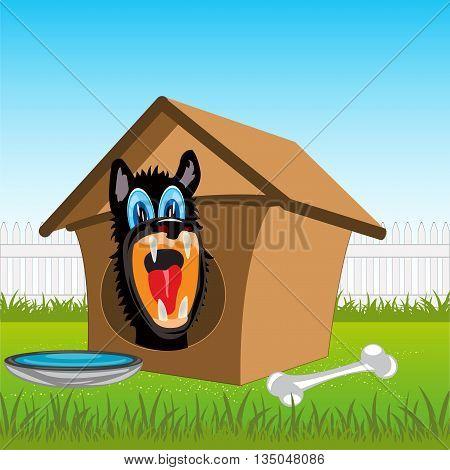Irritating dog in kennel on rural area.Vector illustration
