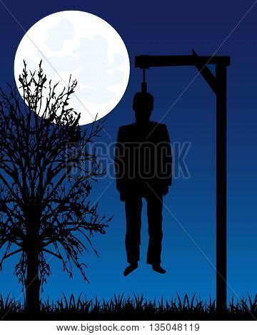 Dead body of the person on gallows moon in the night