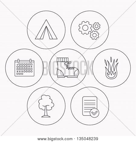 Maple tree, camping tent and hiking boots. Fire flame linear sign. Check file, calendar and cogwheel icons. Vector