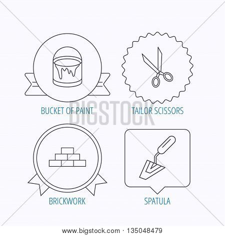 Spatula, scissors and bucket of paint icons. Brickwork linear sign. Award medal, star label and speech bubble designs. Vector
