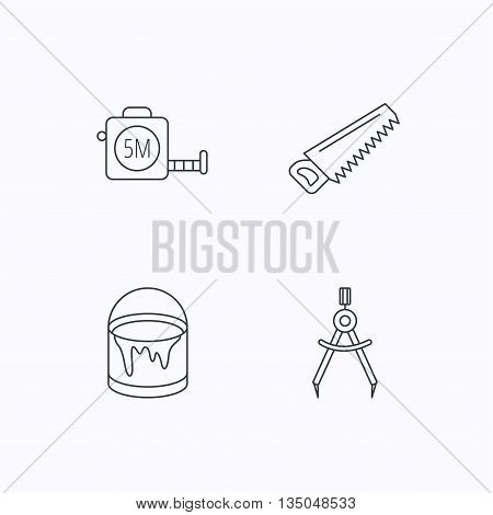 Tape measure, saw and bucket of paint icons. Measurement linear sign. Flat linear icons on white background. Vector