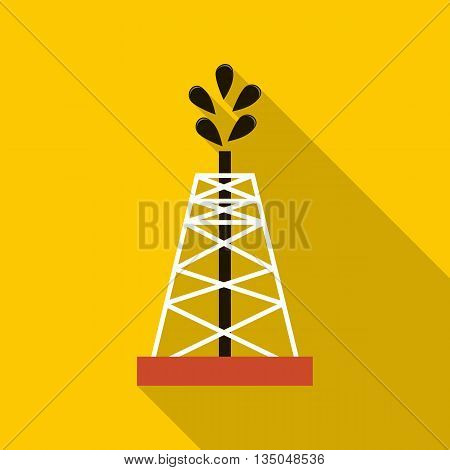 Oil rig icon in flat style with long shadow