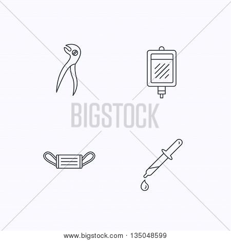 Medical mask, blood and dental pliers icons. Pipette linear sign. Flat linear icons on white background. Vector