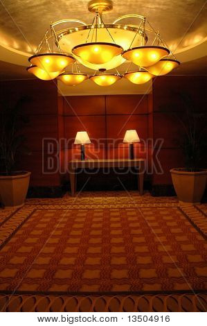 hotel ballroom and grand chandelier