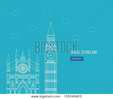 London, United Kingdom flat icons design travel concept. London travel. Historical and modern building. Thin line icons