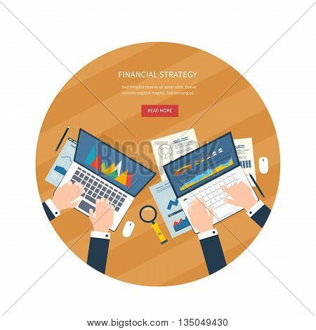 Flat design illustration concepts for business analysis, consulting, teamwork, project management, financial report and strategy, financial analytics, market research.