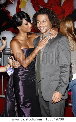 Monique Coleman and Corbin Bleu at the Los Angeles Premiere of 'High School Musical 3: Senior Year' held at the Galen Center in Los Angeles, USA on October 16, 2008.
