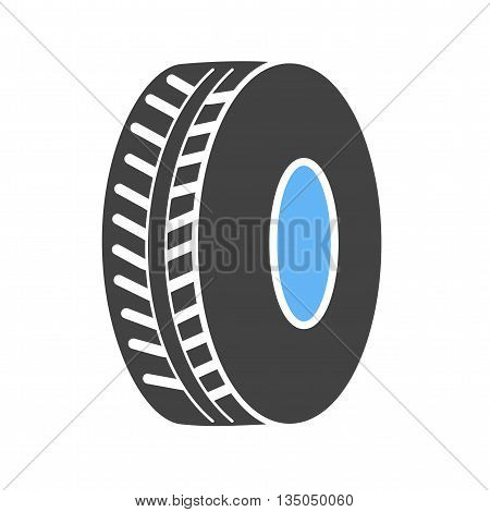 Tyre, car, black icon vector image. Can also be used for car servicing. Suitable for use on web apps, mobile apps and print media.