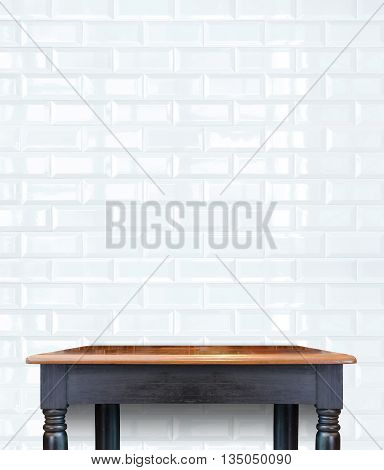 Wood table with tile wall,Mock up for display of product