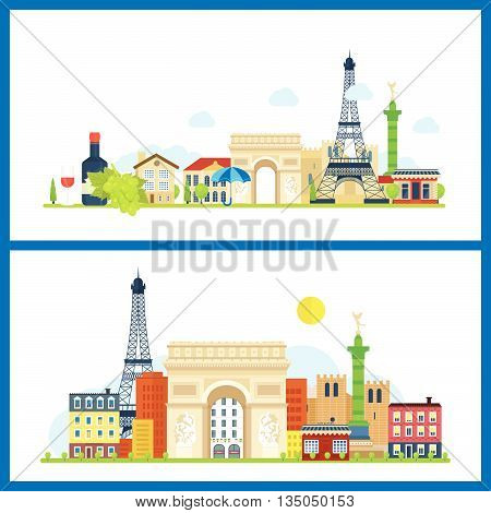 French Landmarks. Vector travel destinations icon set. Eiffel tower, Notre Dame in Paris, France