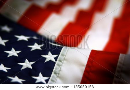 American flag close up shot independence day