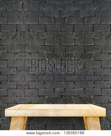 Wood table with brick wall,Mock up for display of product