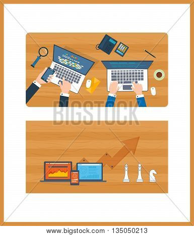 Financial report. Top view of a team working together on a project with documents and laptop. Concepts for business analysis, teamwork, project management. Schedule revenue growth