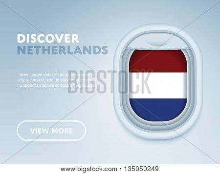 Flight to Netherlands traveling theme banner design for website, mobile app. Modern vector illustration.