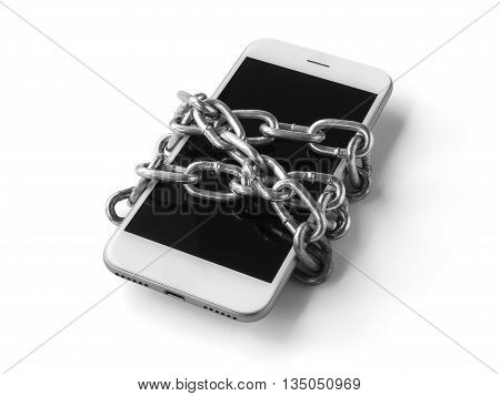 Black and white filter of mobile phone with chain locked isolate on white background with clipping path. Concept of social network issues forgot password information security robbery or piracy