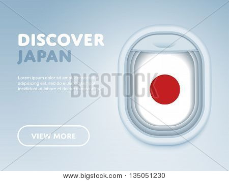 Flight to Japan traveling banner. Discover Japan. Traveling the world by plane. Tourism and vacation theme. Attraction of airplane window. Travel Japan concept with Japan flag. Adventure in Asia. Airplane to Japan travel places. Explore Japan landmarks.