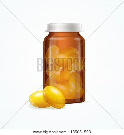 Fish Oil Supplement Capsule and Brown Medicine Glass Bottle Isolated on White Background. Vector illustration