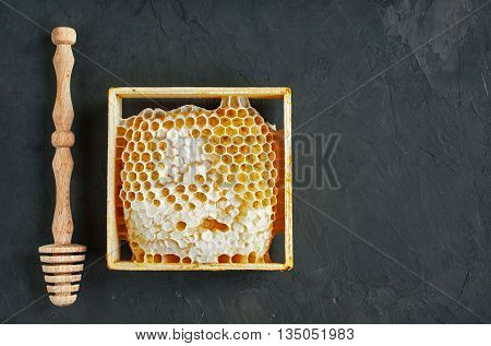 Honeycomb And Wooden Dipper
