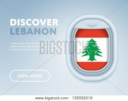 Flight to Lebanon traveling theme banner design for website, mobile app. Modern vector illustration.