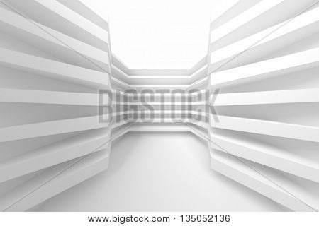 White Building Construction. Abstract Architecture Background. Modern Interior Design. 3d Rendering of White Minimal Technology Design