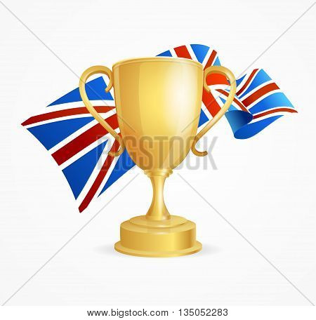 Greate Britain Winning Golden Cup Concept for Competitions Isolated on White Background. Vector illustration