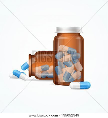 Pills Capsules in Medical Glass Bottle Isolated on White Background. Open and Closed Vial. Vector illustration