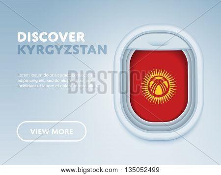 Flight to Kyrgyzstan traveling theme banner design for website, mobile app. Modern vector illustration.