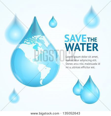 Water Globe Save Concept Card with Text. Protection Of Nature. Vector illustration
