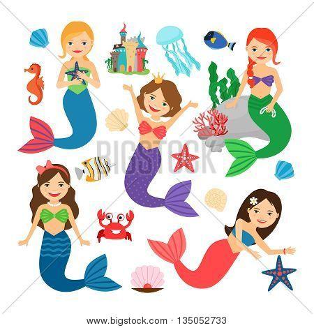 Mermaids characters set. Cute mermaids vector illustration