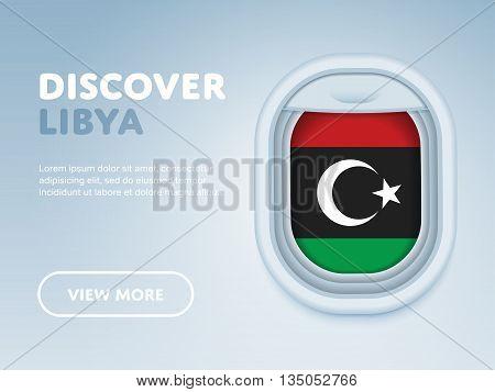 Flight to Libya traveling theme banner design for website, mobile app. Modern vector illustration.